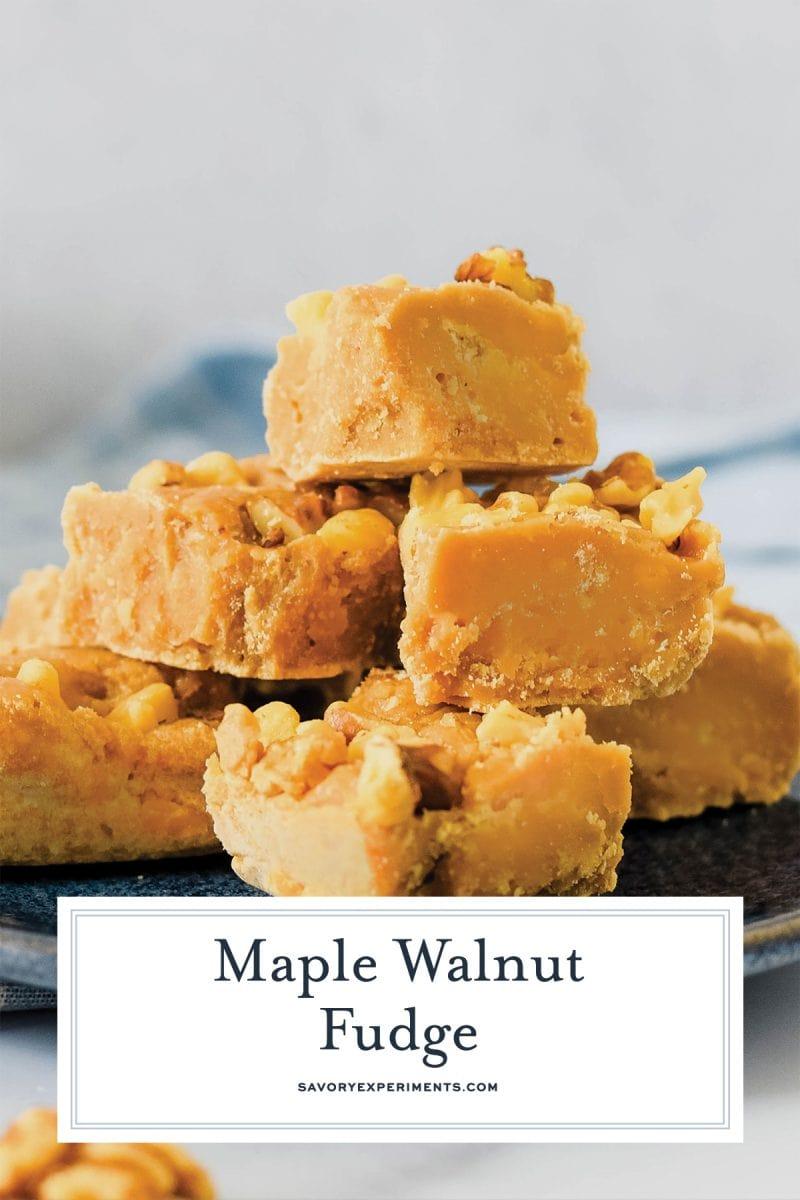 close up of maple walnut fudge