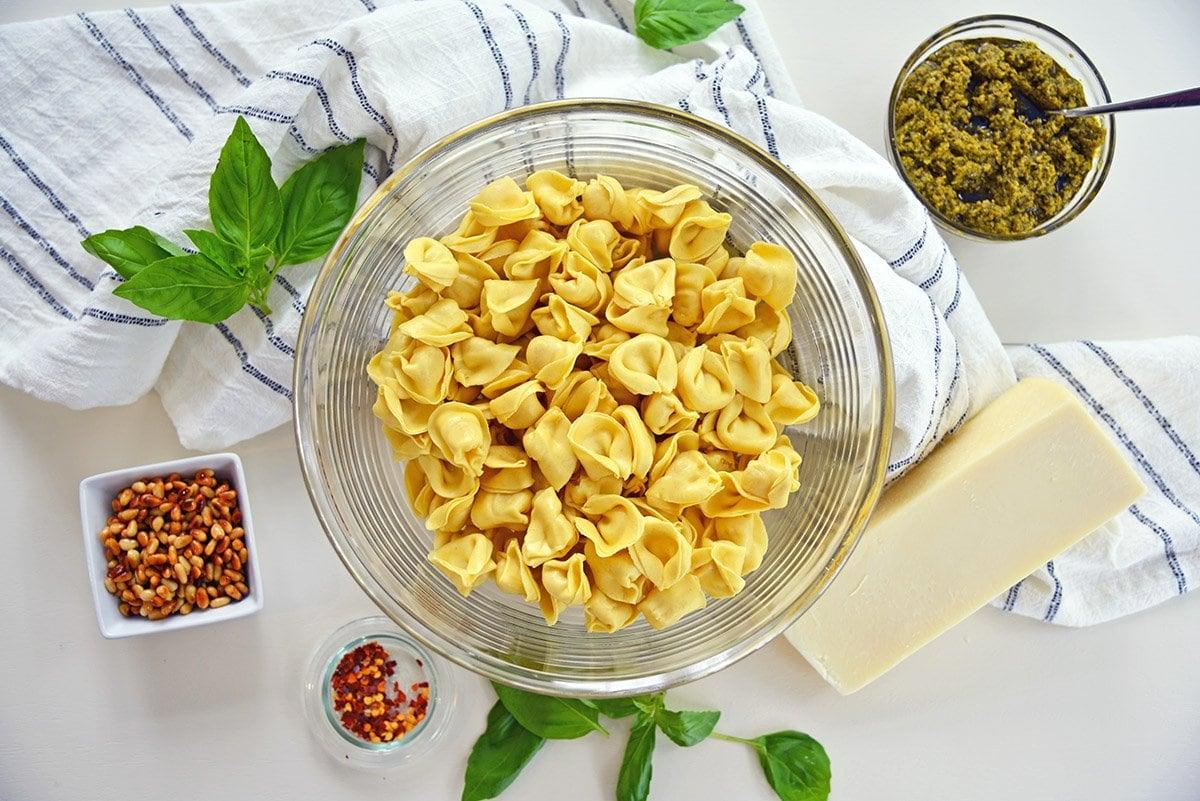 ingredients for pesto tortellini recipe