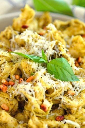 overhead angle of pesto tortellini