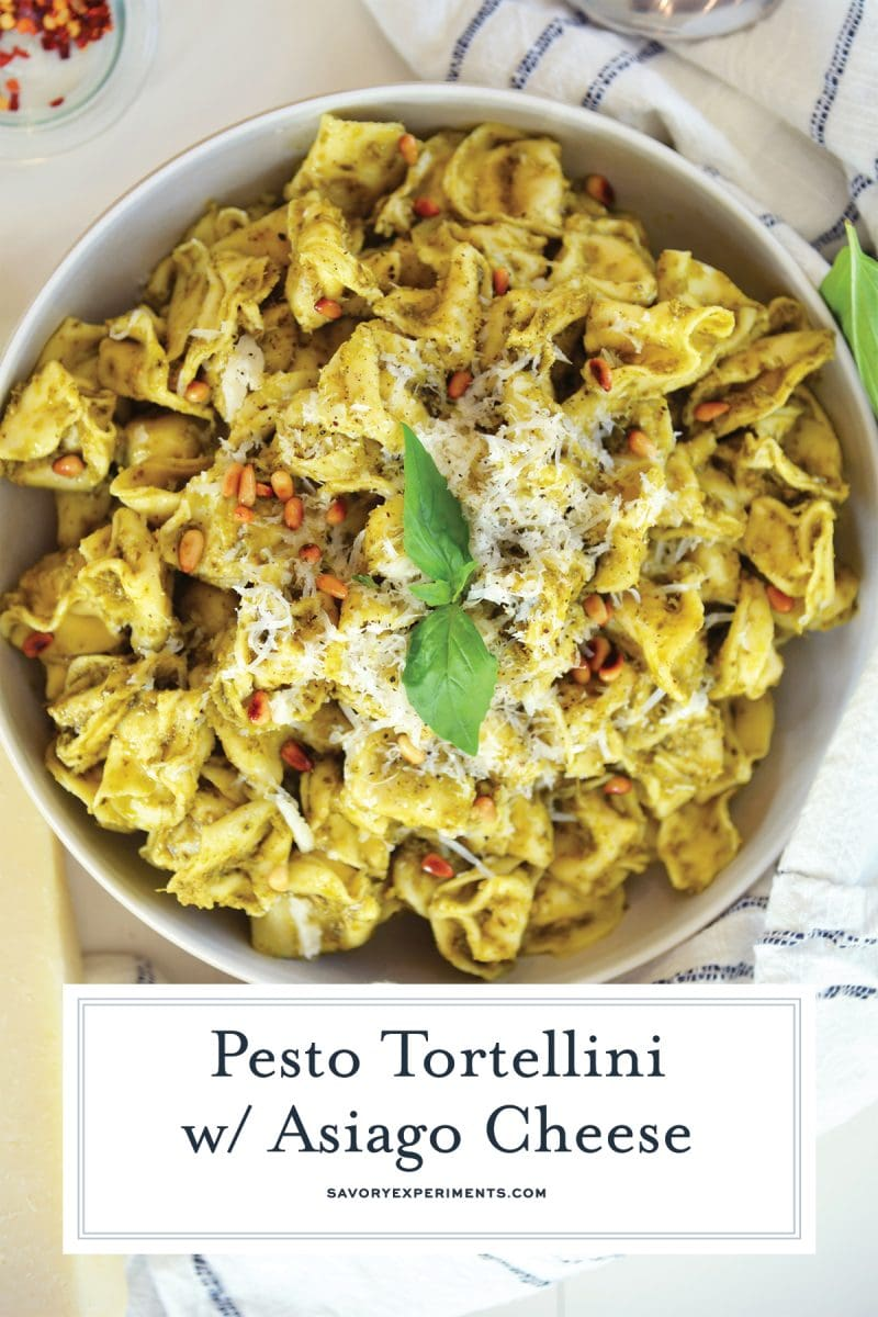 close up of pesto tortellini