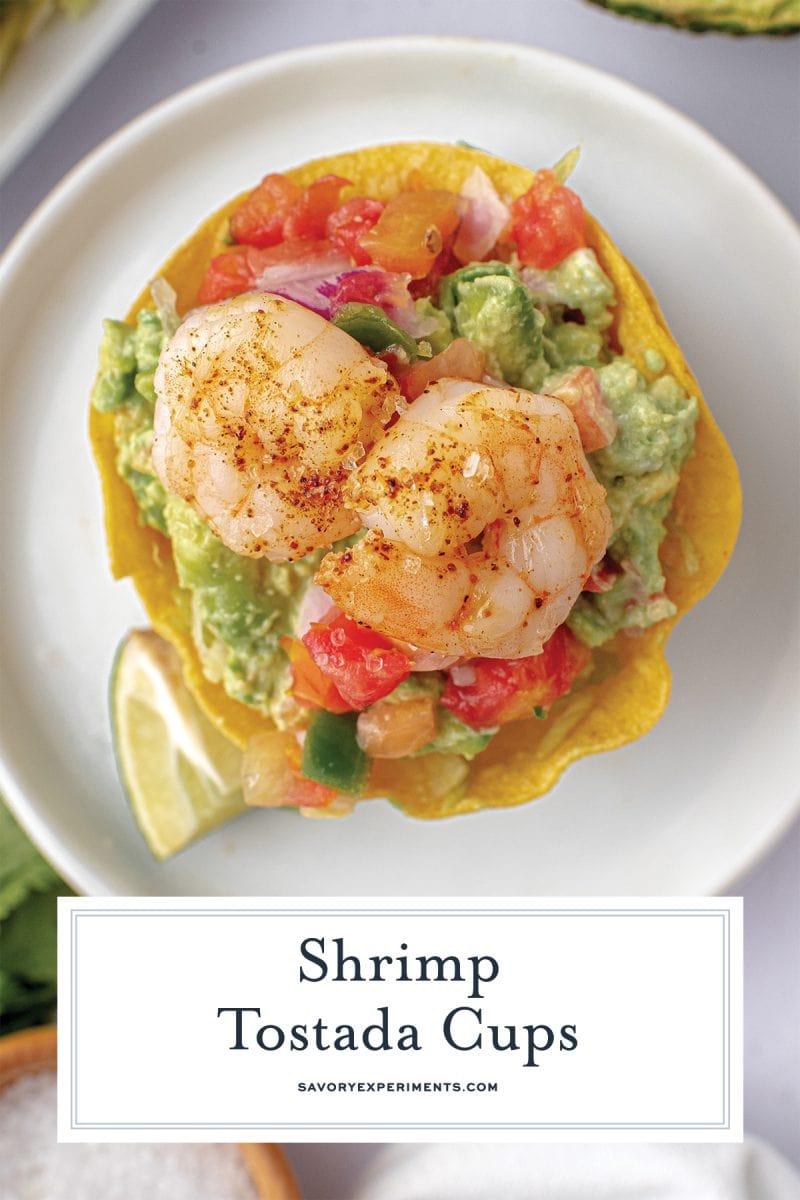 close up of mini shrimp tostada