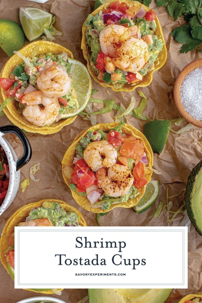 close up of shrimp tostadas