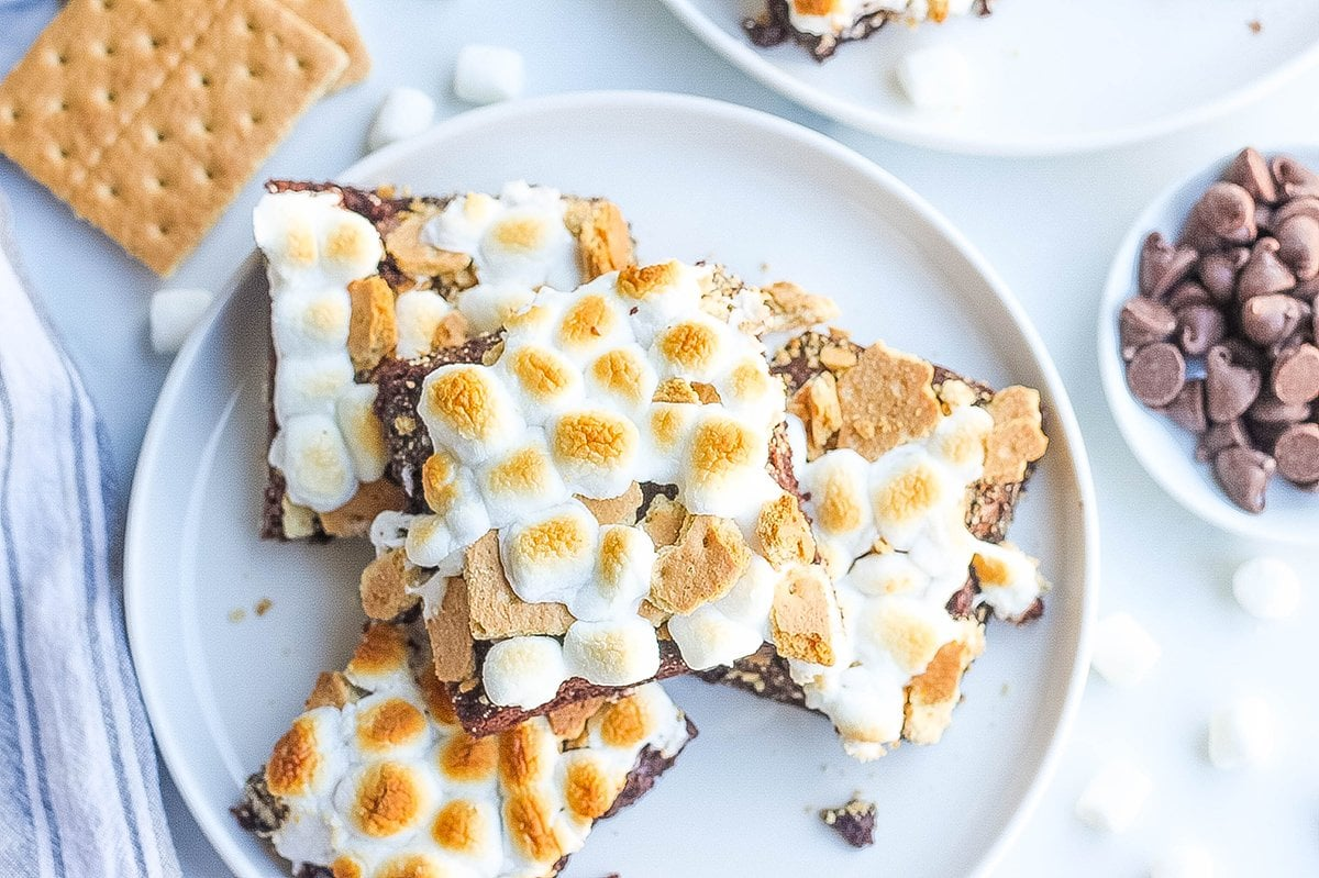 serving dish of homemade smores brownies