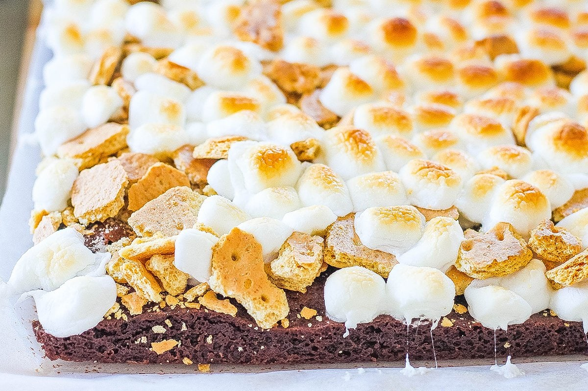 slab of brownies with melted marshmallow