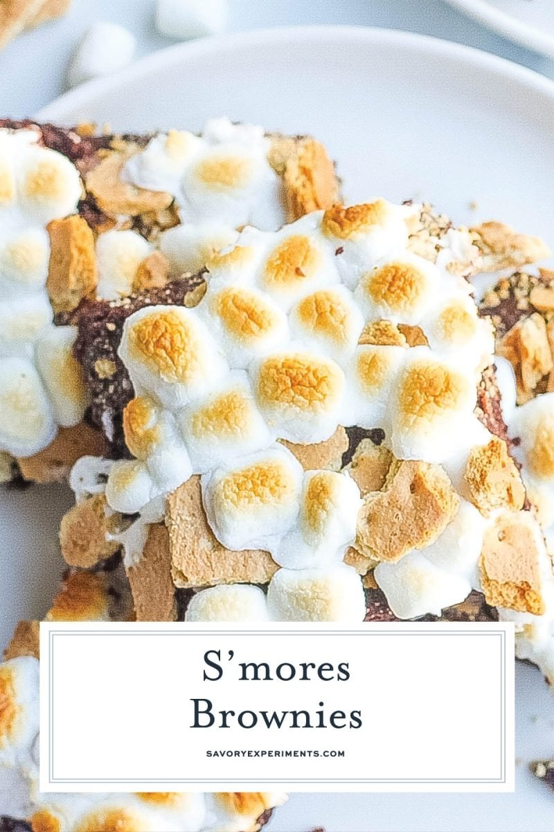 close up of smores brownies with toasted marshmallow