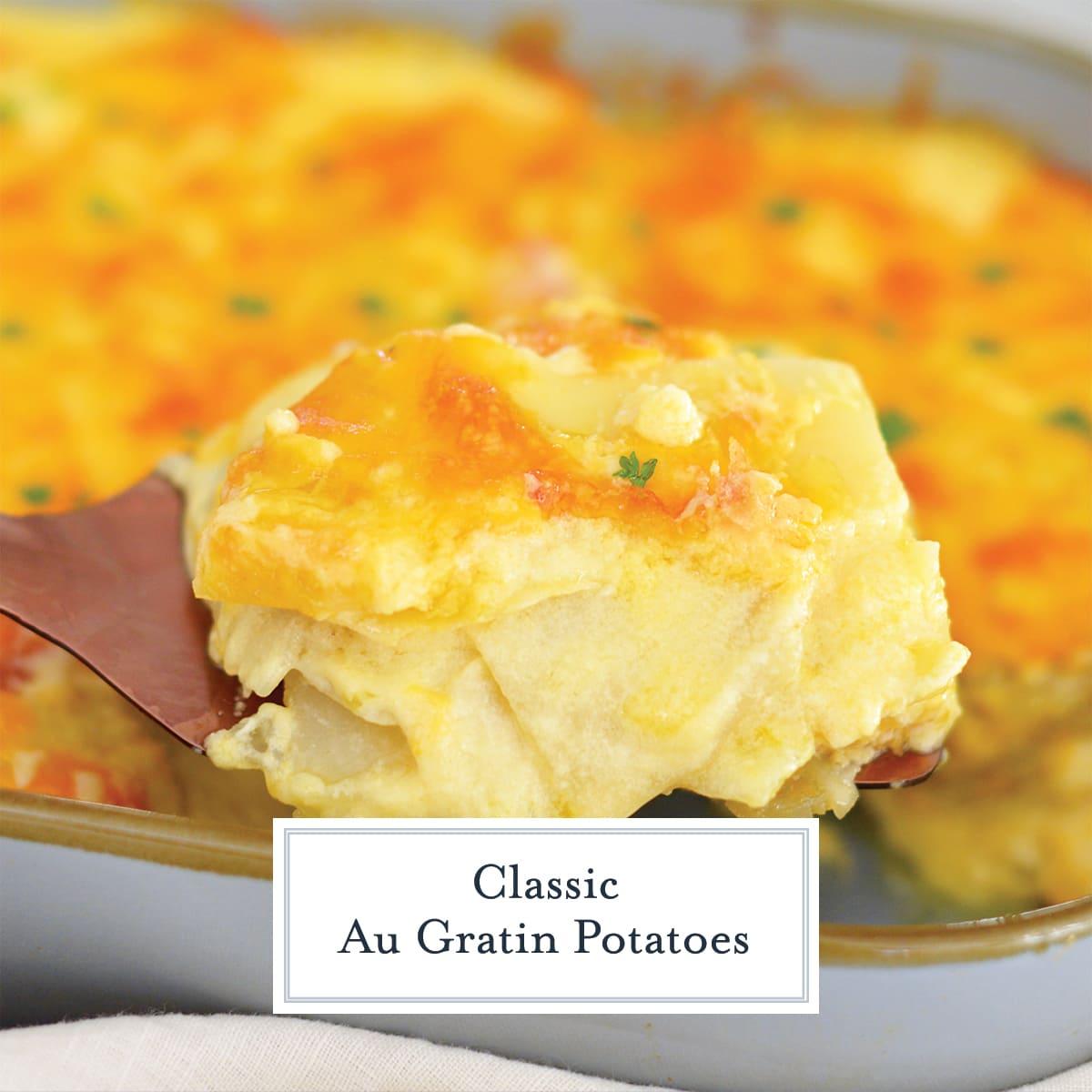 close up of cheesy potatoes on a spatula