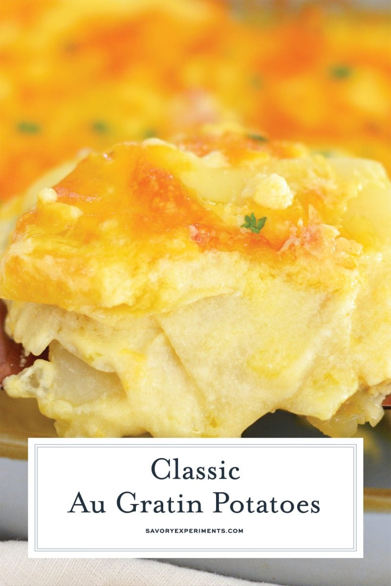 close up of au gratin potatoes with cheese