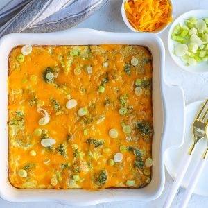 overhead of broccoli quinoa casserole