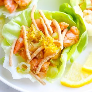 close up of shrimp lettuce wrap