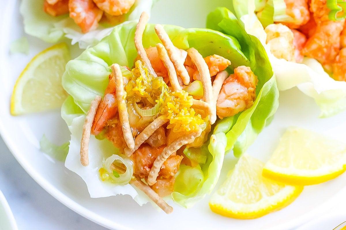 angle close up of a shrimp lettuce wrap