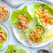 overhead of ginger shrimp lettuce wraps