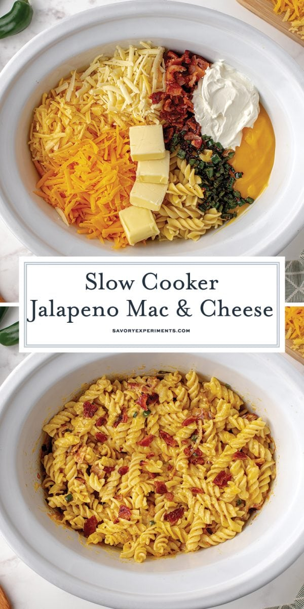 process shots of making mac and cheese in slow cooker