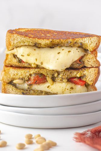 angle view of a pesto grilled cheese sandwich