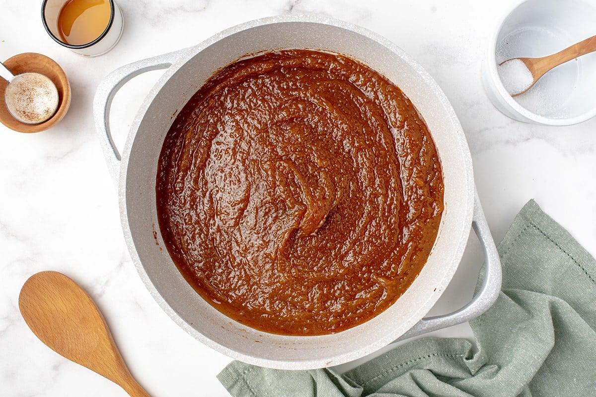 pumpkin butter in a white saucepan