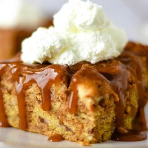 close up of a slice of bread pudding