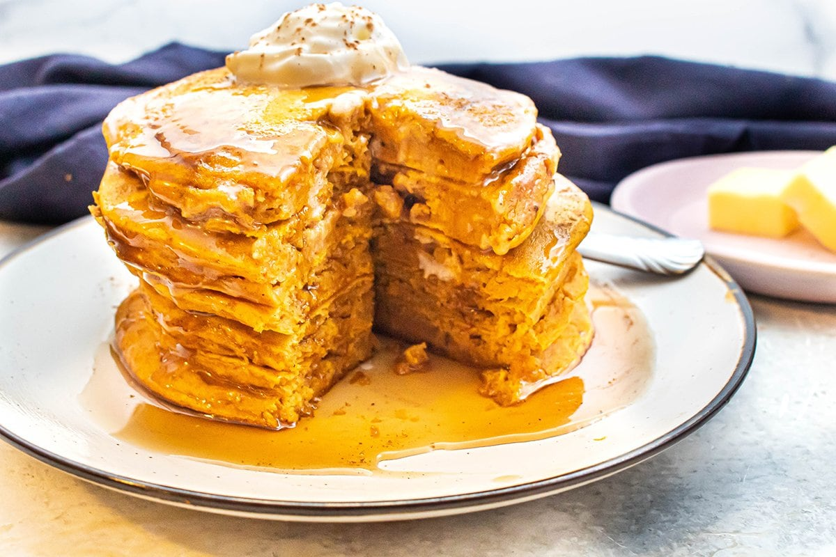cut pancakes with syrup
