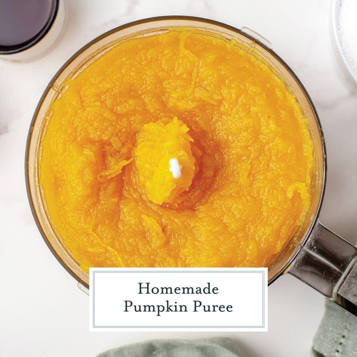 overhead of pumpkin puree in a food processor