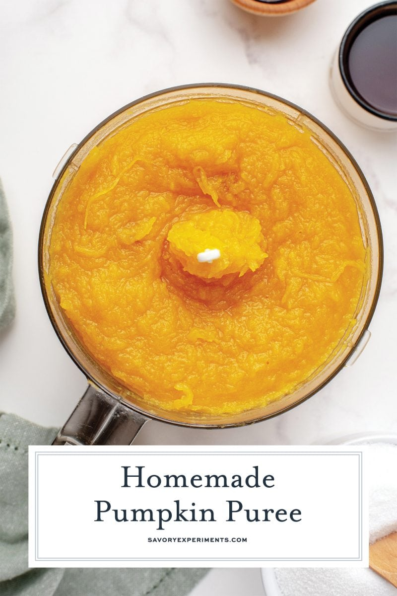 close up of pumpkin puree in a blender