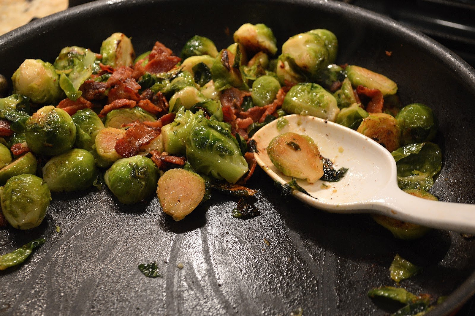 Sauteed Brussels Sprouts with Bacon - Savory Experiments