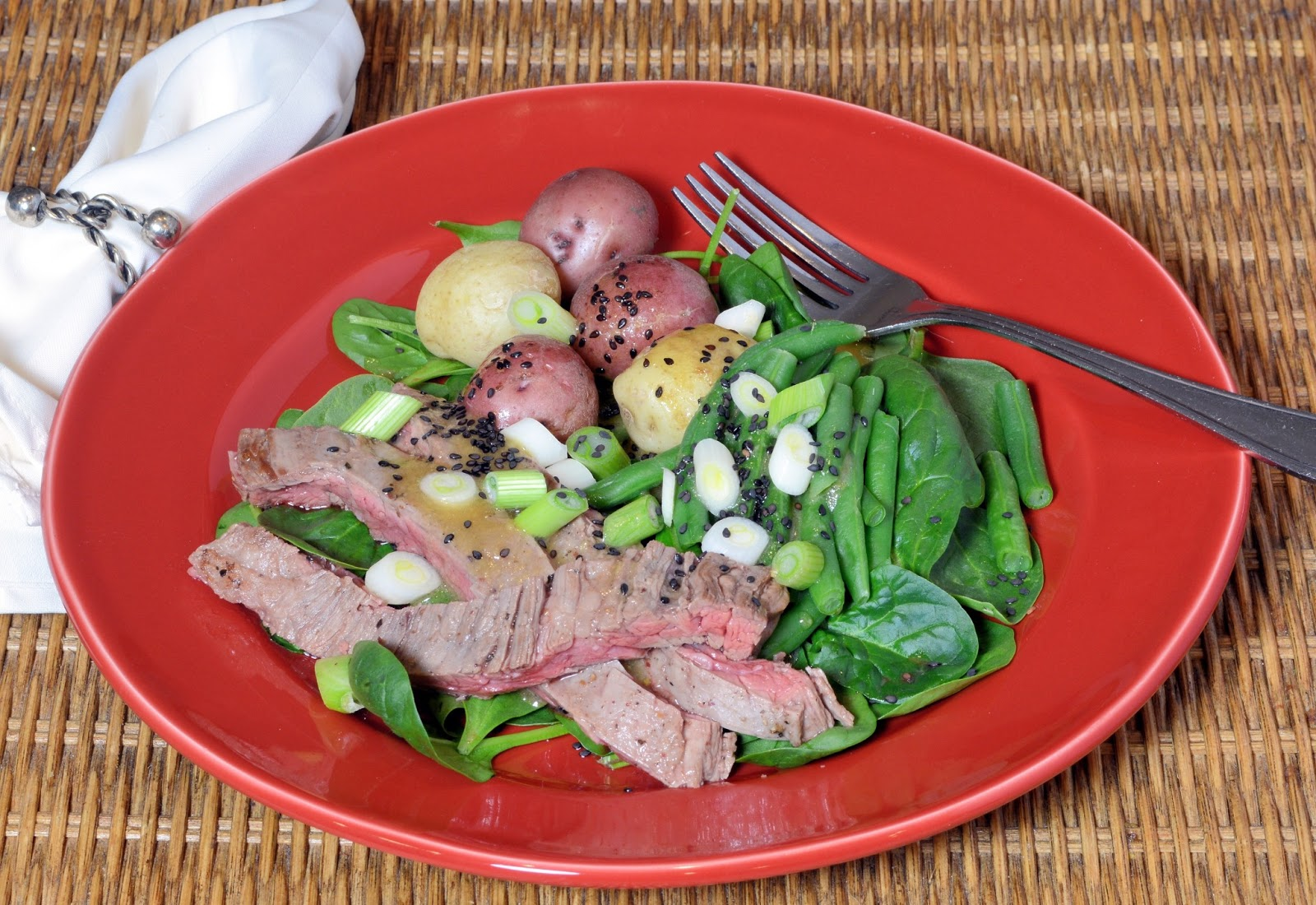 Hanger Steak Spinach Salad with Green Beans and Potatoes - Savory ...