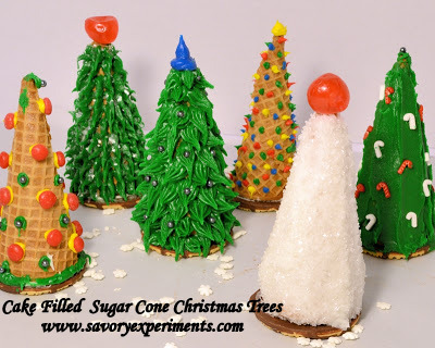 Cake Decorating Making Trees : Cake Filled Sugar Cone Christmas Trees - Savory Experiments