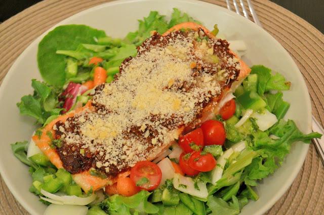 Crispy Chipotle Salmon Salad with Cilantro Lime Dressing - Savory ...