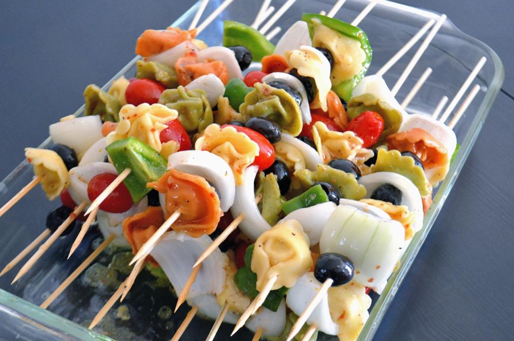 Cold Tortellini Salad Skewers