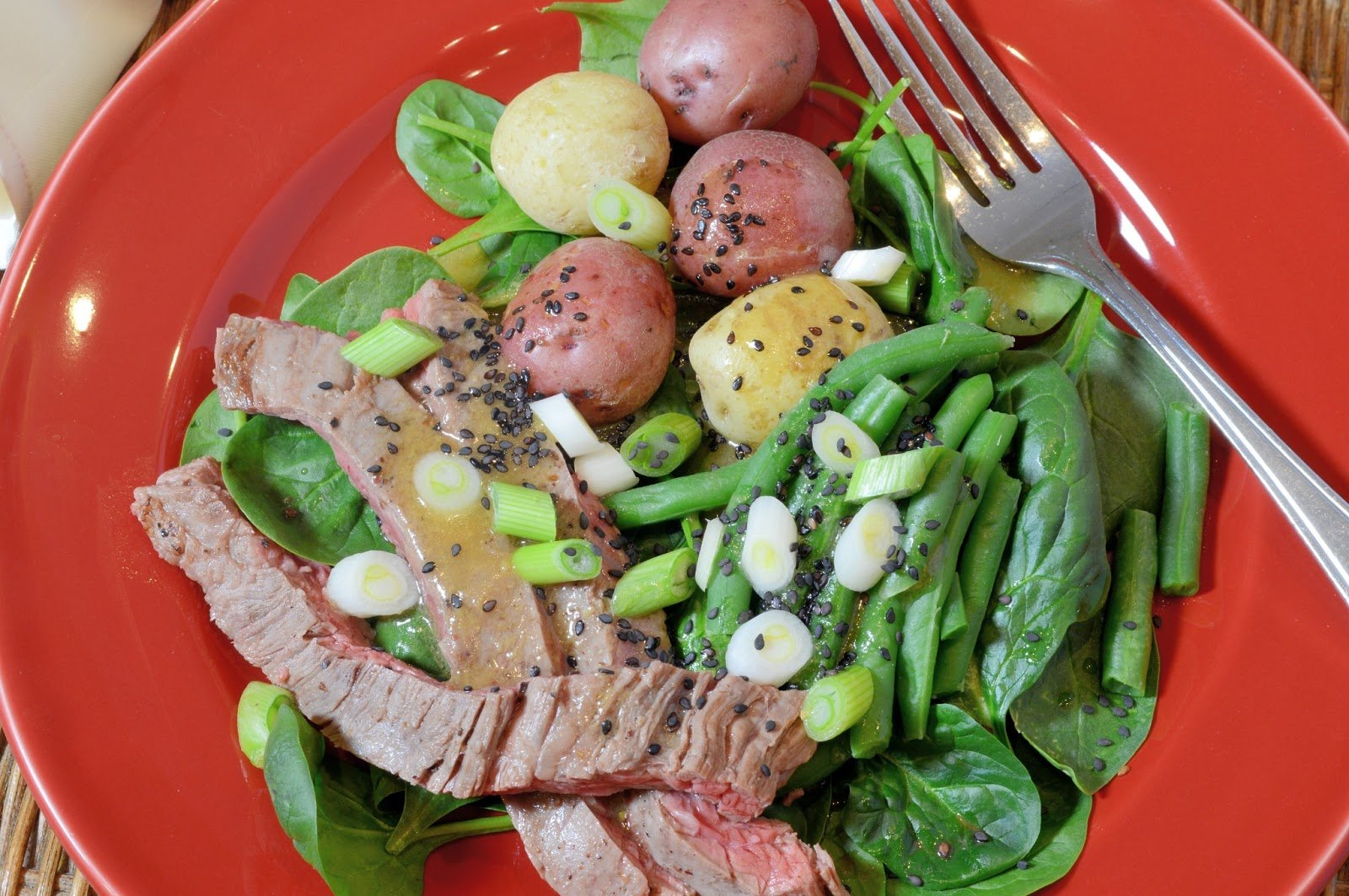 Hanger Steak Spinach Salad with Green Beans and Potatoes